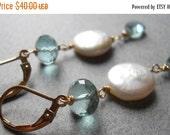 FLASH SALE 15% off, Something Blue Aqua Quartz and Coin Pearl Earrings