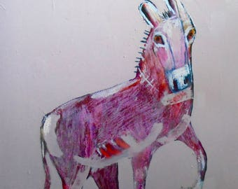 EMERY original painting 'rethink who and what we are' outsider folk donkey expressionism