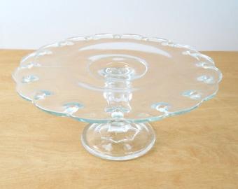Vintage Indiana Glass Cake Stand • Teardrop Pattern Glass Cake Plate • Vintage Clear Glass Cake Stand