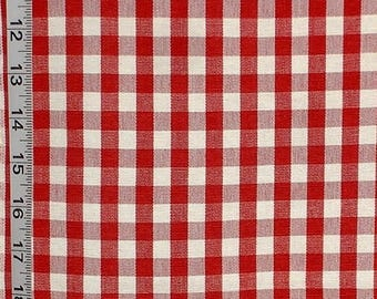 Red and white checked fabric gingham checks interior home decorating material  RT-Chest- DC03 Berry WhiteSold BTY 1 yard