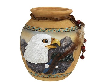 Native American Eagle Vase | Southwestern Decor | American Indian Style Art | Country Farmhouse Style
