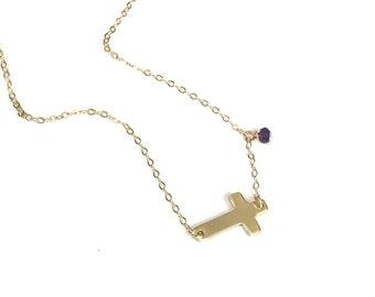 Sideways Cross Necklace, Dainty Cross Necklace, Silver, Rose or Gold Cross Necklace, Date Necklace, Personalized Cross Necklace, Birthstone