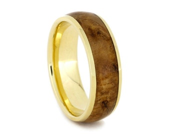 18k Gold Ring,  Black Ash Burl Wood Ring, 18k Yellow Gold Wedding Band
