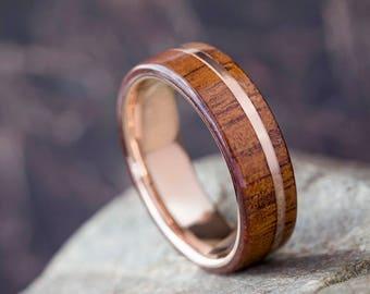 Rose Gold Koa Wood Ring, Wooden Wedding Band With 14k Rose Gold, Wood Jewelry