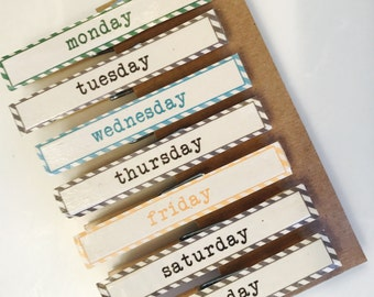 Days of the Week Clothespins with Magnets