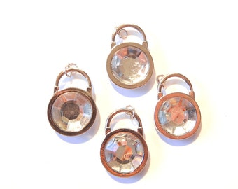 Set of Large Lock Charm Pendant Charms Silver-tone, Aryclic Double-sided