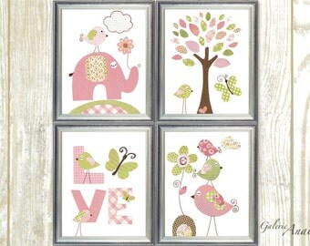 Butterfly Nursery Art Print nursery art baby children wall art kids art pink green elephant Birds heart tree love Set of 4 prints