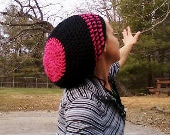 DREAD HAT Natural Handmade Crochet Hat Rasta Hat Wool Hat Slouch Hat Dreadlock Tam Dread *Black & Hot Pink*