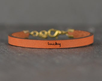 good luck bracelet | wish bracelet | lucky | go confidently | lucky charm | feeling lucky | jewelry with words | quote leather bracelet