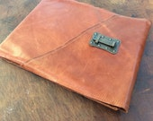 """Large refillable leather sketchbook - landscape 12"""" wide x 9"""" tall"""