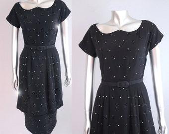 1940s rhinestone dress | 1940s peplum dress | 40s black dress