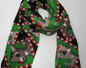 Rudolph and Clarise Fleece Scarf, Christmas Scarf, Christmas Fleece