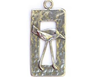 Bird in a Window Pendant Sterling Silver 43526 (1) 1.25 inches Oxidized Bird Pendant, WIndow Pendant, Sterling Silver Bird