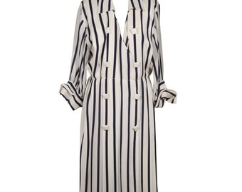 ANDREA ODICINI Italian VINTAGE White and Navy Striped shirt dress sz 46