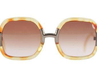 Authentic TED LAPIDUS rare vintage honey OVERSIZED sunglasses shades eyewear