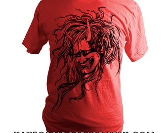 Japanese Oni Head, T-Shirt, Screen Printed, Red, Demon, Spirit, Unisex, Men, Women - Gifts for Him or Her