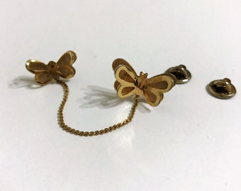 vintage butterfly collar pin. chain collar clip. butterfly collar clip. collar pin