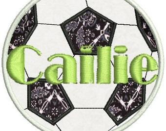 Soccer ball applique Embroidery design