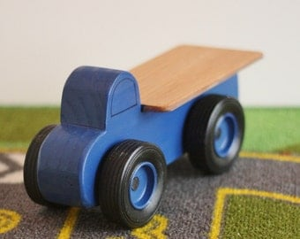 Toy Blue Flatbed Truck - Handcrafted Wooden Toy Flatbed Little Blue Truck - Birthday party favor - Party Theme Blue Flatbed Truck - Blue Toy