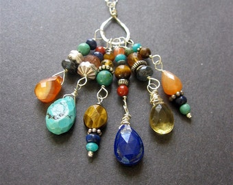 Multistone Long Charm Necklace, Gemstone Charm Necklace, Boho Gemstone Sterling Silver Necklace