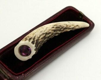 Vintage Antler Kilt Pin, Antler Brooch with Purple Glass Stone, Scottish Kilt Pin, Scottish Red Deer Antler, Deer Horn Shawl Pin