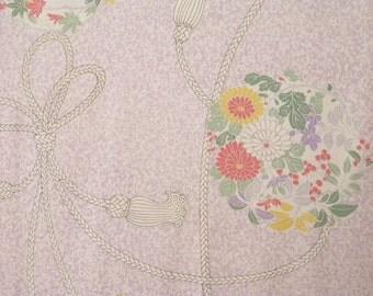 Vintage kimono S365,  white purple