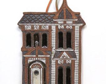 Victorian House Stoneware Trivet/ Victoria Littlejohn Studio Pottery /Wall Decor