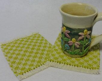 Drink Coasters, Woven Coasters, Handwoven Mug Rugs, Woven Mug Rugs, Handwoven Coasters, Natural and Chartreuse, Set of 2 (#17-05 chartreuse)