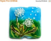 ON SALE 40% OFF New! Handmade Glass Lampwork Bead - 11838904 Dandelion Wishes Pillow Focal Bead