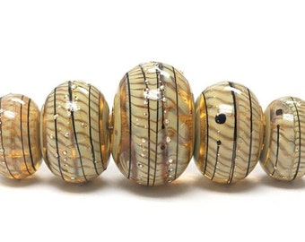 ON SALE 45% OFF Handmade Glass  Lampwork Beads -  Five Graduated Transparent Brown w/Beige Strips Rondelle Beads - 11106111