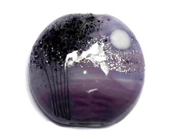 NEW! 11839502 African Violet Moonlight Lentil Focal Bead - Handmade Glass Lampwork Bead