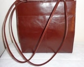 Wilsons Leather glazed Italian leather  tote satchel bag purse in deep chocolate brown vintage MINT gorgeous