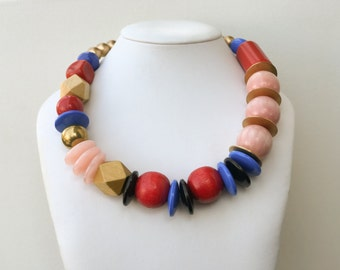 Necklace 2.31 - handmade beaded asymmetrical one of a kind colorful statement necklace featuring vintage lucite wood metal  beads