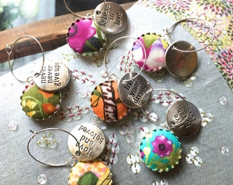 Handmade Yellow Pink Blue Green Summer Floral Flowers Fabric Button Valentine Mother Day Message Wine Charms