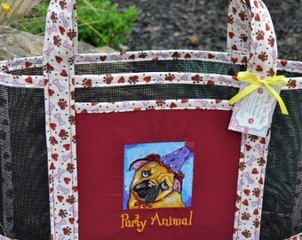 Tote Bag Embroidered Puppy Dog Party Animal Paw Hearts and Bones Print Fabric and Vinyl Mesh Tote