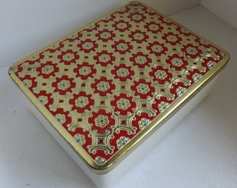Vintage Eduscho Kaffee German Mid Century Coffee Tin Embossed Red Blue and Gold Floral Lid with White Vinyl Leatherette Sides