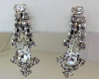 Vintage clear rhinestone earrings silver dangle earrings bridal wedding jewelry screw back screw post earrings