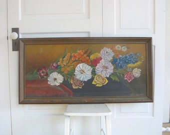 Large Vintage Floral Oil Painting, Flower Painting, Floral Painting, Vintage Art, Vintage Canvas Painting, Floral Canvas Painting