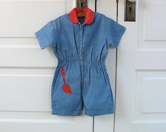Vintage Girl Shorts, Girl Romper, Blue Romper, Garden Romper, Denim Romper, Child Vintage Denim, Girl Denim Shorts, Girl Overalls, 3T, 4T