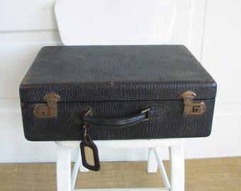 Vintage Black Suitcase, Black Industrial Case, Vintage Black Luggage, Black Storage Case, Black Train Case, Black Antique SUitcase