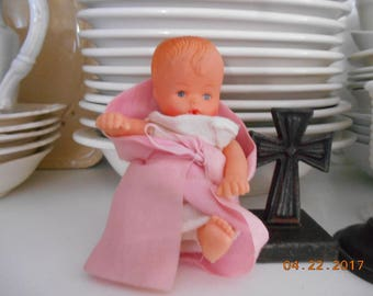 Vintage Hard Plastic Small Doll that drinks and wets marked Made in Hong Kong