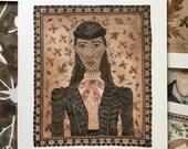 Gucci Girl Autumn, fashion portrait, original watercolor painting, miniature modern portraiture