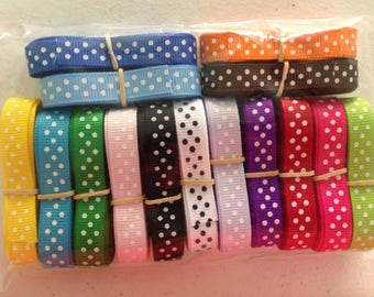 "On Sale Now...3/8"" x 25 yards Polka Dot Grosgrain...33% OFF"