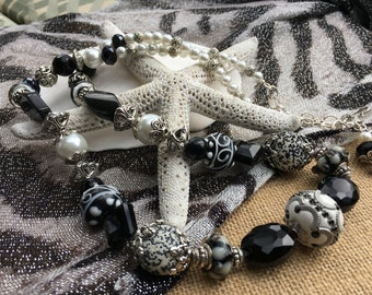 Handmade Extra Long Black and White Beaded Necklace, Custom Jewelry by Elizabeth, Handmade Jewelry, One of a Kind Jewelry, Irish Expressions