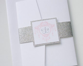 Gemma Glitter Wedding Invitation, White, Silver Glitter, Blush Pink, Elegant Wedding Invitation - Wedding Stationery - Handcrafted - Sample