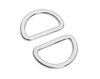 "100pcs - 1 1/4"" (32mm) Flat Zinc D-Ring - Nickel - (FDR-112) - Free Shipping"