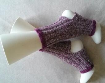Yoga Socks Light Handknit Purple and Gray