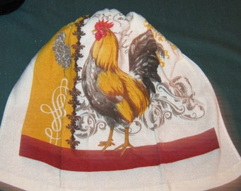 Crochet hanging towel, Rooster, White top