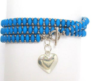 blue beaded wrap bracelet handmade bracelet charm bracelet caribbean blue heart bracelet boho bracelet festival bracelet