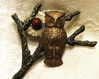 Vintage Owl Brooch with Goldstone Accent Stone of Three Different Metals. It is 1 3/4 Inches Both Ways. Unusual Collectible Owl Brooch. (D5)